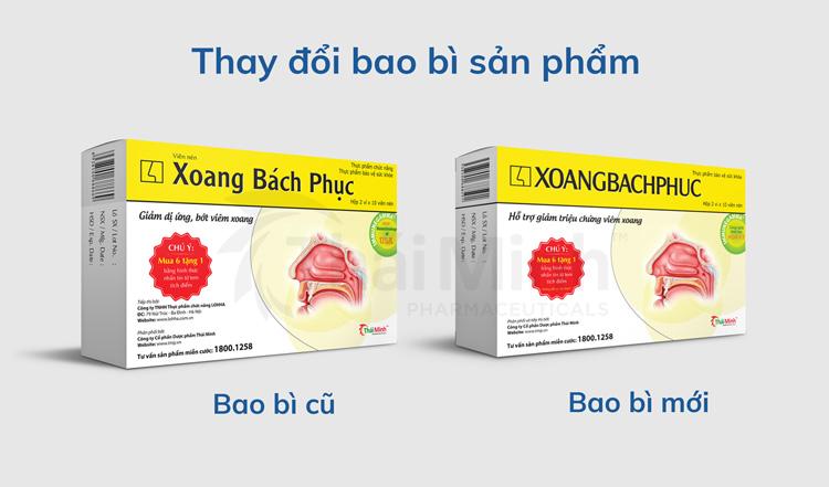 Thông báo thay đổi bao bì nhãn mác sản phẩm Xoang Bách Phục 1